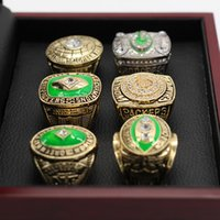 Wholesale Packers Green - 6pcs set 1961 1965 1966 1967 1996 2010 Green Packer Championship Ring Set Christmas Gift ring,Free Shipping High Quality