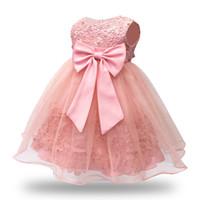 ingrosso vestito dalla neonata 24m-Vestito da bambina rosa senza maniche in pizzo vintage per 1 anno vestito da festa di compleanno 6-12-18-24M abiti da cerimonia nuziale per bambini vestiti per bambini