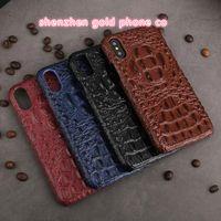 cuir véritable iphone achat en gros de-Pour iphone X Réel Véritable crocodile peau d'alligator peau de crocodile peau en cuir étui portefeuille pour iphone x