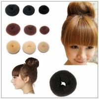 sentetik saç sarması toptan satış-3 adet / grup Kızlar Saç Bun Donut Sentetik Scrunchie Bun Kapak Kafes Bun Wrap Maker Saç Uzatma Brid Saç Bantları CCA9883 1500lot