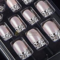 clous en acrylique achat en gros de-Tailles complètes 24pcs Acrylic Full Cover Nail Tips Faux Nail Art Avec Colle Pré Conçu Fake Tips Artificiel Nails Designs 109