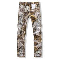Wholesale Dj Blend - New Mens Snakeskin Printed Jeans Slim Skinny Night Club DJ Trousers Pants Slacks For Male Plus Size