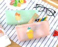 Wholesale ice cream stationery - Elegant shape pen bag student cute fruit ice cream pencil case office stationery jelly glue pencil bag