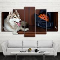 painéis de cães venda por atacado-Cartazes de parede Sem Moldura Modular Art Home Decor Imagem 5 Painel Animal Cão Esporte Basquete Sala de estar Moderna Pintura Da Lona Impressa