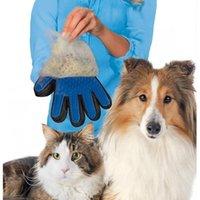 uzun saç köpek deshedding toptan satış-Nazik Deshedding Fırça Eldiven Verimli Pet Saç Çıkarıcı Mitt Masaj Aracı Uzun Kısa Saç Köpekler Kediler için En Iyi Saç Çıkarıcı
