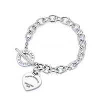 Wholesale wedding brand names - 2018 New arrival S925 Sterling Silver and brand name heart pendant bracelet with OL clasp for women wedding gift jewelry PS6298