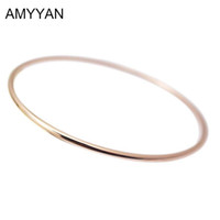 thin steel Australia - 2016 Spring Summer Style Women Girls Jewelry Rose Gold Thin Cuff Bangle Bracelet 316L Stainless Steel 60mm 65mm diameter Bangle