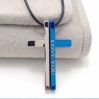 Wholesale Cross Couple Necklaces - MIC 10pcs   lot personality cross Couple necklace LOVE YOU Simple Bible Charms Pendant Necklaces
