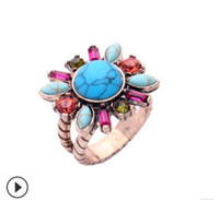антикварные бирюзовые кольца для женщин оптовых-Мода античный бирюзовый цветок кольцо для женщин