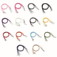 halskette wachs baumwolle großhandel-20 teile / los Karabiner Leder Seil Halskette Durchmesser 1,5mm Koreanische Baumwolle Gewachste Schnur Gewinde Halsketten Mode DIY Schmuck 15 Farben Großhandel