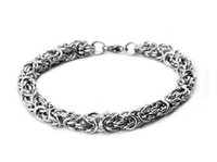 Wholesale byzantine stainless steel bracelet resale online - Men s Stainless Steel Round Byzantine Chain Bracelet Silver