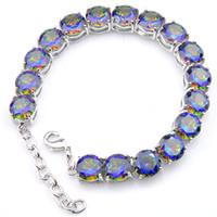 Wholesale loom bracelets charms - new fashion classic elegant gemstone crystal rainbow loom 925 silver charm bracelet bohemian charm bracelet bangle B0334