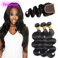 Wholesale hair per bundle resale online - Brazilian Human Hair Bundles With x4 Lace Closure Body Wave Human Hair Bundles With Closure Extensions Per I Capelli pieces