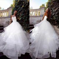 Wholesale waves image online - 2019 Strapless vestido de novia White Wedding Dresses Ruched Tulle Sweep Train Corset Back Simple Elegant Custom Made Bridal Gowns