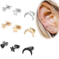 conjunto de joyas en forma de estrella al por mayor-3 unids / set Joyas de moda mujeres pendientes de perlas Set Simple Star Moon pendientes En Forma de Corazón Set Pendientes de Cuernos Accesorios 1.2 * 1.4 cm