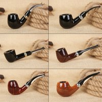 Wholesale red sandalwood carving for sale - Group buy Fashion Bent Red sandalwood Smoking Pipes filter tobacco pipe Classic Resin Carved Cigar Pipe for Portable Smoking hand pipe