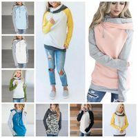 Wholesale hoodie double zipper - Double Hooded Pocket Pullover Sweatshirt Tops Women Pullover Hoodie Side Zipper Patchwork Drawstring Sweatshirt 12pcs OOA4711
