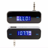 Wholesale galaxy mini lcd - Mini Transmitt 3.5mm Electronic In-car Car FM Transmitter Wireless LCD Stereo Audio Player For iPhone Samsung Galaxy Smartphone
