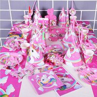 Wholesale plastic birthday cake toppers - 141pcs Unicorn Birthday Party Set Unicorn Favor Supplies Set with Disposable Tableware Cake Toppers, Christmas Toy GGA108 10PCS