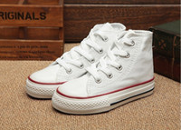 Wholesale shoes 34 online - EU size New brand kids canvas shoes fashion high low shoes boys and girls sports canvas sports shoes