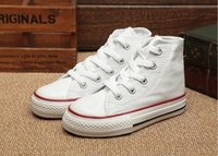 eu taille 34 chaussures achat en gros de-EU taille 24-34 Nouvelle marque enfants chaussures de toile de mode haute - chaussures basses garçons et filles sport chaussures de sport en toile