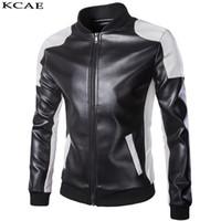 ingrosso uomini di giacca moto nero-All'ingrosso-Punk Motor Jacket moto nero bianco giacche in pelle da uomo moto Slim Fit in pelle da motociclista giacca maschile PU cappotto