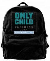 ingrosso solo tela-Only Child Expires 2017 Canvas Shoulder Backpack Zaino carino per uomo donna Teens College Travel Daypack Design borsa nera