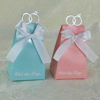 ingrosso scatole di caramelle per matrimoni-2018 Anelli d'argento Europe Wedding Candy Boxes Lovely Bow Blue White Pink Anniversari Scatole regalo di nozze Bomboniere di carta Borse per matrimoni