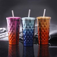Wholesale cold steel shipping resale online - 500ML Gradient Color Stainless Steel Cold Cup Coffee Drink Tea Mug Travel Insulation Straw Cups With Lid Color WX9