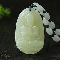 Wholesale Jade Carving Amulet - 2018 New Fashion High Quality Real Natural White Hetian jade Carved Buddha Lucky Amulet Pendants Necklace For Women Men Jewelry