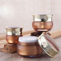 kosmetikpakete jar gold großhandel-10g 15g 30g luxus leeres gold kosmetische verpackungsbehälter aus kunststoff mit schraubverschluss, personalisierte cremetiegel acrylflasche