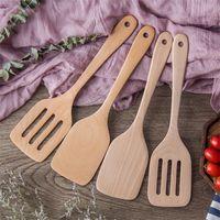 mutfak gereçleri toptan satış-Doğal Ahşap Kürek Pişirme Gereçler Uzun Sap Gözleme Turner Mutfak Araçları Saf Renk Mutfak Sıcak Satış 4 8mf4 C RW