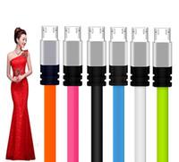 cable de teléfono usb fideos al por mayor-3FT Metal Flat Noodle Micro tipo c Cable USB 2A Data Sync Cables Adaptador de carga para Samsung s6 s7 edge s8 note 8 htc android phone 7 8 x 1m