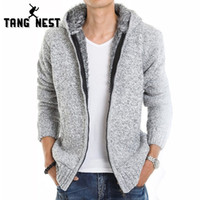 Wholesale winter jackets fur inside - Tangnest 2017 Fur Inside Thick Autumn &Winter Warm Jackets Hoodies Hodded Men 'S Casual 5 Color Thick Hot Sale Sweatshirt 179