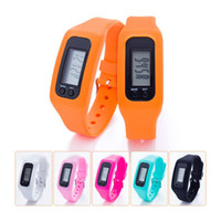 contadores de calorias eletrônicos venda por atacado-Digital LED Pedômetro Inteligente Multi Relógio de silicone Run Passo Curta Distância Contador de Calorias Relógio Eletrônico Pulseira Pedômetros Coloridos