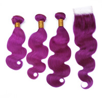pièce de fermeture ondulée péruvienne achat en gros de-Péruvienne vierge Purple cheveux humains 3Bundles avec fermeture vague de corps