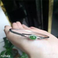 pulseira de jaspe venda por atacado-KJJEAXCMY fine jewelry 925 prata Inlay jóia pulseira de jasper natural senhora