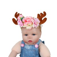 Wholesale Kids Reindeer Antlers - 1 PC Christmas Reindeer Antlers Party Headband Lovely Flower Headband for Kids Cute Christmas Decoration Supplies Head Band