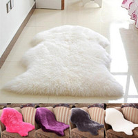 Hot selling NEW Soft Artificial Sheepskin Chair Cover Warm Hairy Carpet Seat Pad Plain Skin Fur Plain Fluffy Area Rugs Washable Bedroom Mat