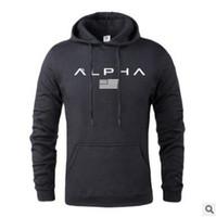 sıcak baskılar toptan satış-M-XXXL ile Sıcak 2019 Sonbahar Ve Kış Marka Aktif Tişörtü Erkekler Yüksek Kaliteli Harf Baskı Giyim Erkek Spor Kapüşonlular