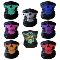 outdoor schädel maske großhandel-Halloween Maske Festival Ghost Skull Gesichtsmasken Skeleton Outdoor Motorrad Fahrrad Multifunktions Nackenwärmer Ghost Half Face Maske Schals