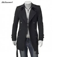 Wholesale collar belted coat - Winter Trench Coat for Men Black Mid Long Coats with Belt Suit Collar Thermal Gray Men Outwear Doublt Breasted Casual Overcoat