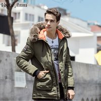 Wholesale Worsted Coat Hoods - Vogue Anmi Winter Jacket Men Long Windproof 2017 Zipper Solid Hood Warm Coat Thick Cotton-Padded Famous Brand Thicken Parkas