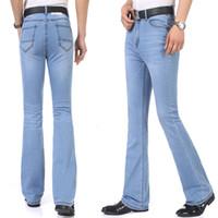 cortes de jeans venda por atacado-Moda Primavera Casual Homens de Bell inferior Jeans visita azul mediana cintura Slim Fit inicialização Cut Calças Semi-queimado alargamento Leg Denim Plus Size 26-35