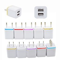 двойная док-станция для iphone оптовых-Двойное зарядное устройство USB-порт США ЕС Plug Домашние зарядные устройства Адаптер питания Зарядные устройства 5v 1a 2.1a Для смартфона iphone X 8 Plus