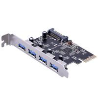 pci ekspres genişleme toptan satış-Süper Hızlı 4 Port USB Genişletici Kartı PCI-E USB 3.0 PCI Express Genişleme Kartı Mini PCI-E USB 3.0 Hub Denetleyici Adaptörü