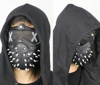media máscara de látex al por mayor-Halloween Watch Dogs Punk Devil Game Mask Rivet Death Cool Half Face Máscara de látex Fiesta Cosplay Atrezzo