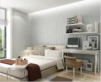 flock wallpaper living rooms بالجملة-التجزئة 5 متر ذاتية اللصق الأزياء رقيقة يتدفقون العمودي المشارب خلفيات ل غرفة المعيشة خلفية الجدران ديكور المنزل ملصقات الحائط 3d رمادي