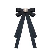 cinta de clip de pelo negro al por mayor-Mujeres negro pajarita mariposa y diamante corbata broche pinzas para el cabello Lady Head Ribbon accesorios de doble uso Chica Blusa mujer