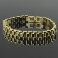 krone rostfrei großhandel-2018 schmale breite Uhr Kette Crown Armbänder Armreifen Für Männer 316L Edelstahl Rose Gold Überzogene Luxus Designer Modeschmuck PS6214A